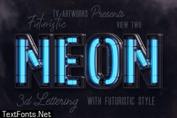 Futuristic Neon 3D Lettering View 2