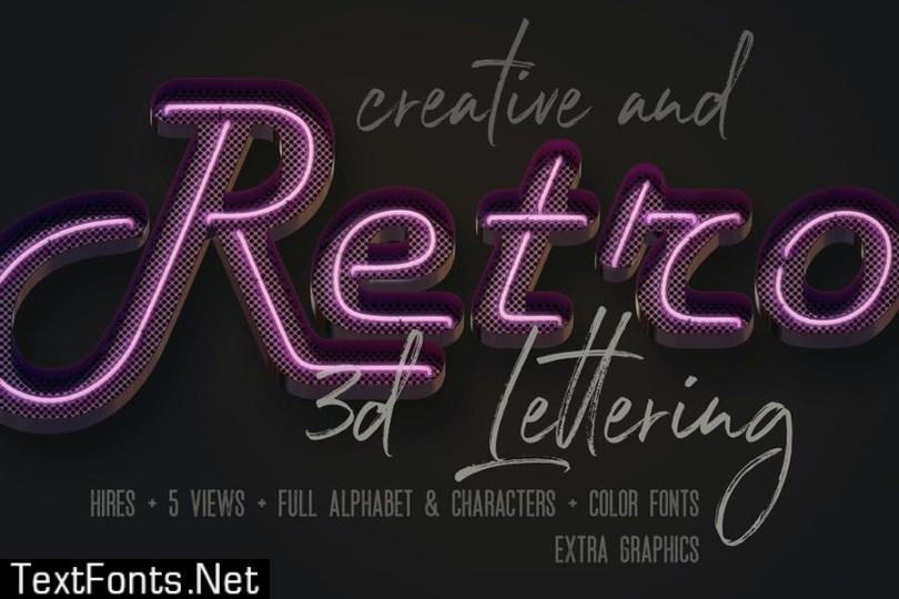 Script Neon 3D Lettering View 1