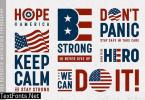 USA Patriotic Motivation Typography And Logos Set