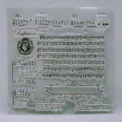 Textielverf en meer stempel 14x14cm muziek