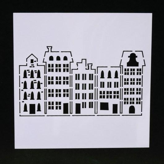 Textielverf en meer stencil 13x13cm hollandse huisjes