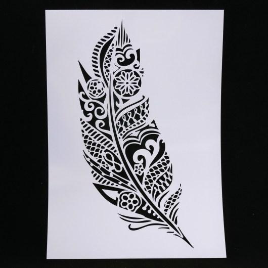 Textielverf en meer stencil 21x29 doodle veer