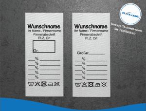 Gewerbe Etiketten Materialzusammensetzung Angaben G001002
