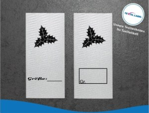 Textiletiketten mit Mistelzweig zur Größenbeschriftung