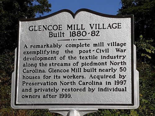 The Holts, the owners of the Glencoe Mill, started construction on the village in 1880 and finished in 1882.