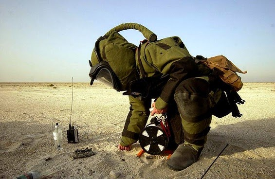 Bomb Squad Officer under training in a Desert Scenraio