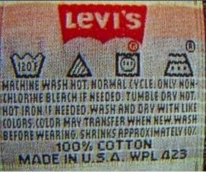 Care label of international brand 'LEVI'S'
