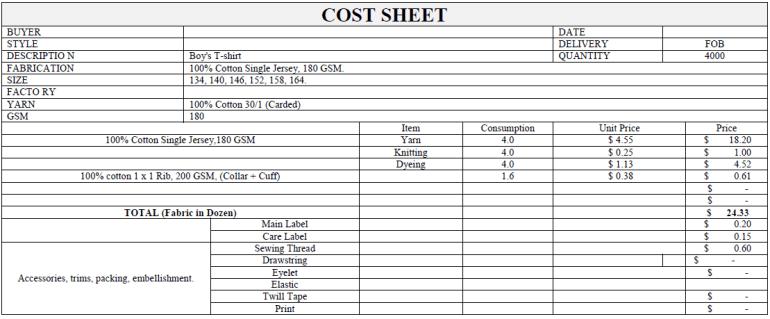 garment costing sheet