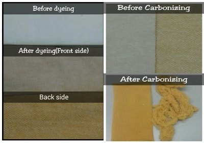 Fabric state before and after carbonizing and dyeing