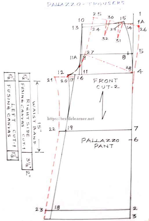 Drafting of Palazzo pants