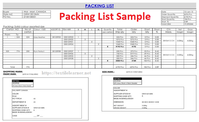 tech pack packing details