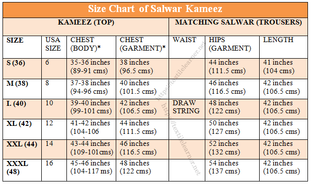 size chart of salwar kameez