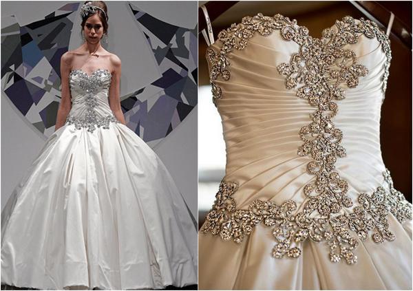 Diamante rhinestone trimming on wedding dresses
