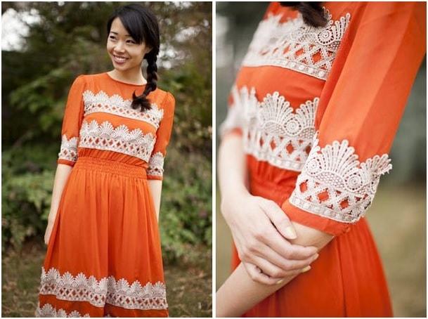 Lace work on dress