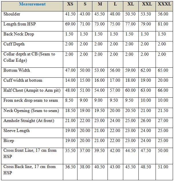 Measurement chart of of Short Sleeve T-shirt