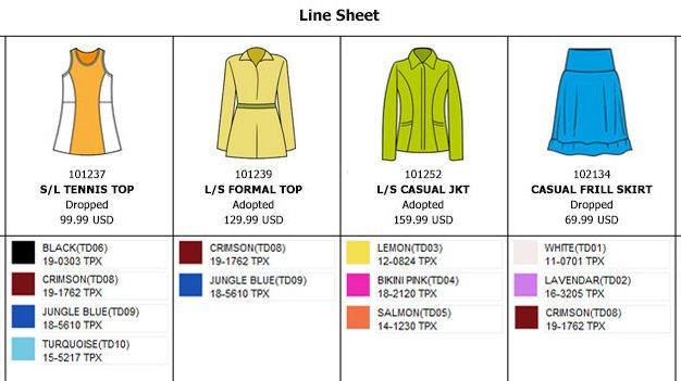 Line sheet
