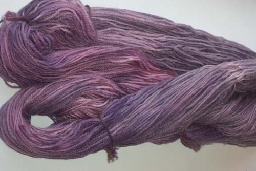 You can see the pinkish violet, the dull purple, and the blueviolet sections on this one, even after it was re-skeined