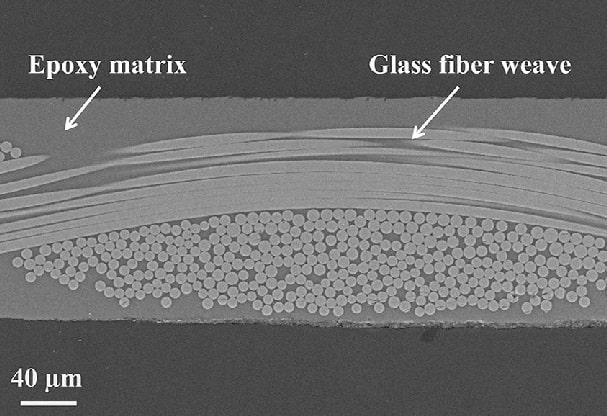 Cross section of glass fiber