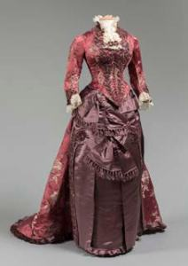 "Dinner Dress, Levillon, Paris, circa 1875. Likely worn by Sara Jane Wilcox Hitchcock (Mrs. Peter Marshall); Gift of Mrs. H.R. Hatch III, 79.58.1 a,b ""In Grand Style"" curated by Susan Neill. (c) Western Reserve Historical So- ciety;"