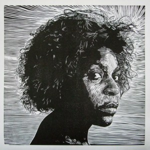 Jill Kinnear linocut_ with grains in her hair