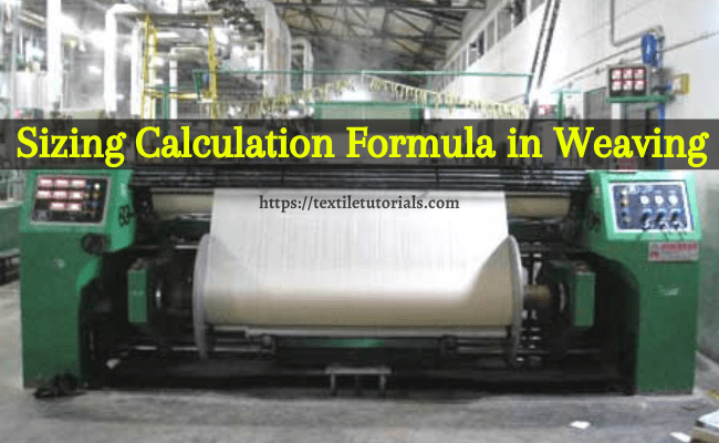 Sizing calculation formula in weaving