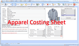 Garment costing sheet format used in apparel industry