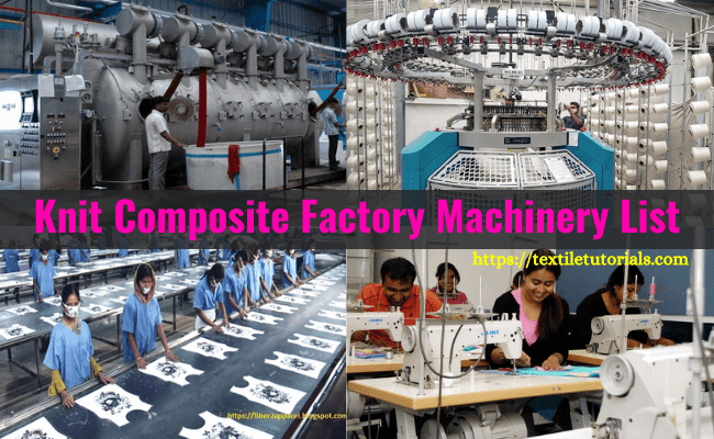 Machines used in knit composite factory