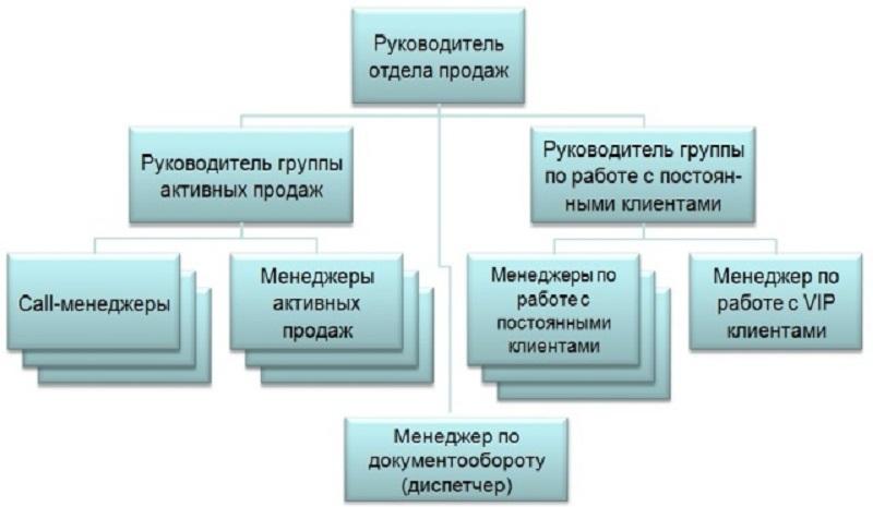 Схема смешанной организации отдела сбыта.