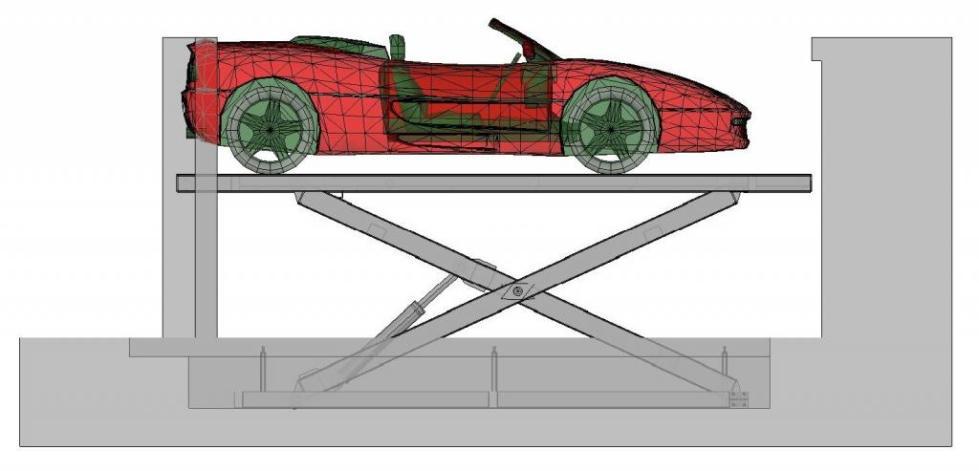 Схема ножничного подъемника для автомобилей