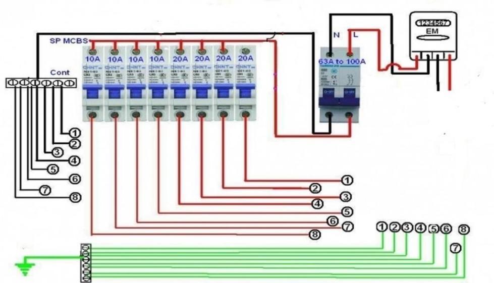 Схема монтажа обычного дифференциального автомата