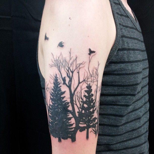 четверть тату-рукава лес