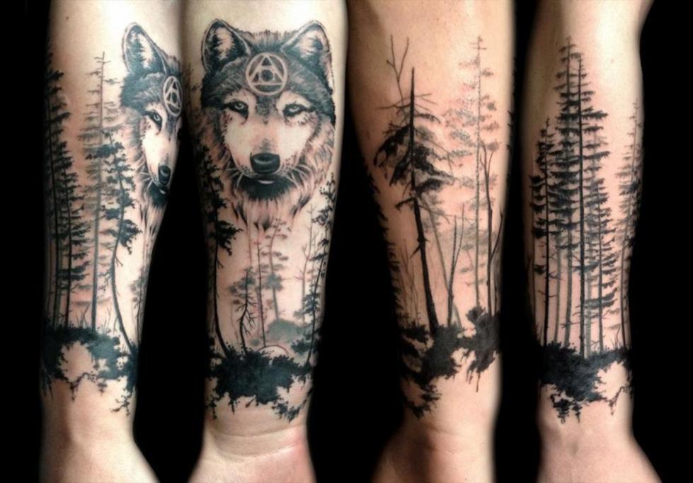 пол тату-рукава лес и волк