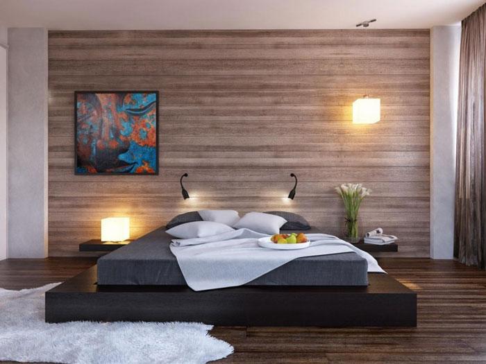 ламинат на стене в спальне фото
