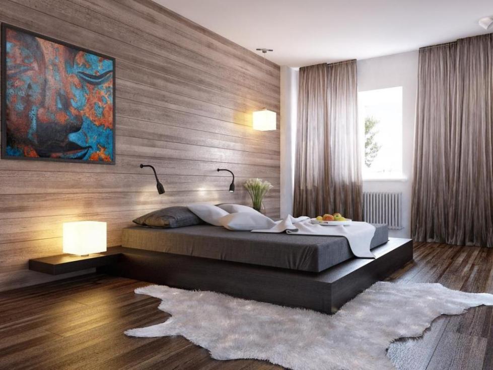 ламинат на стене в интерьере фото спальня