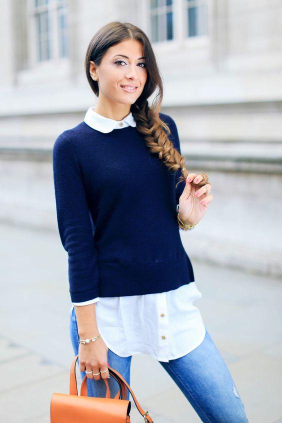 свитер с рубашкой женские