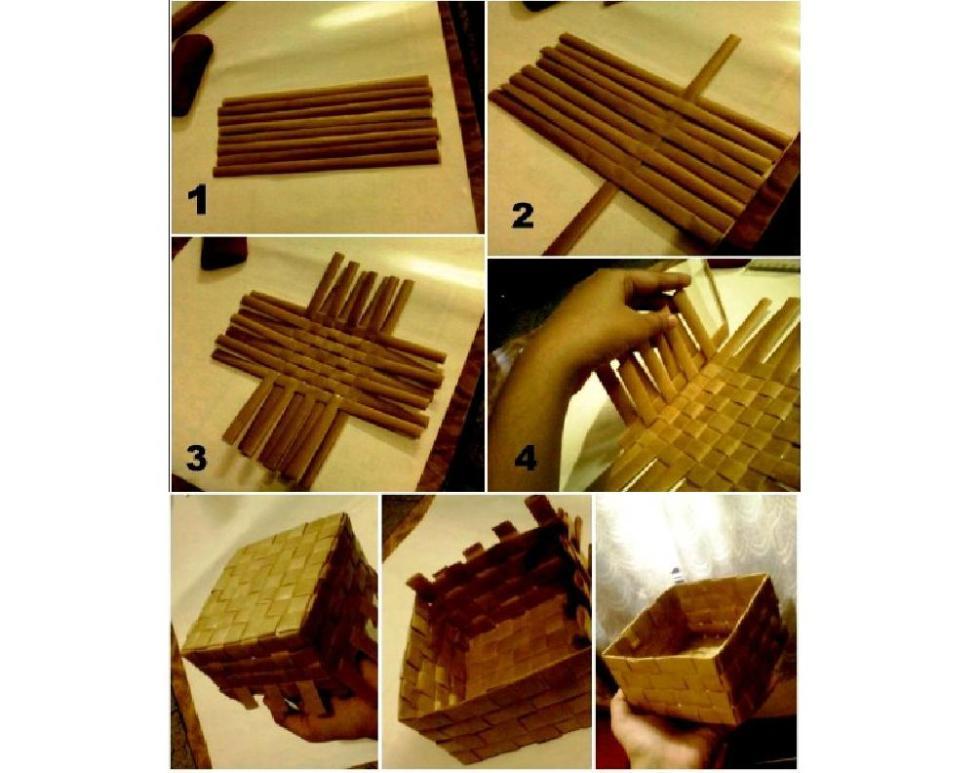 корзинка из картона плетенная