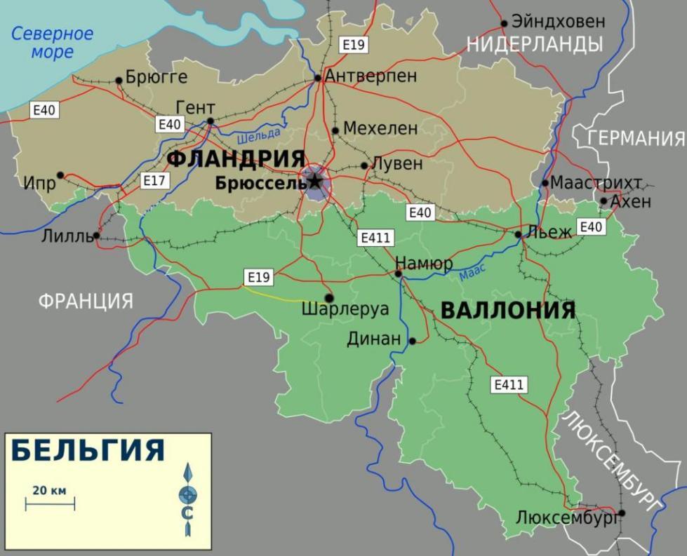 Фландрия на карте