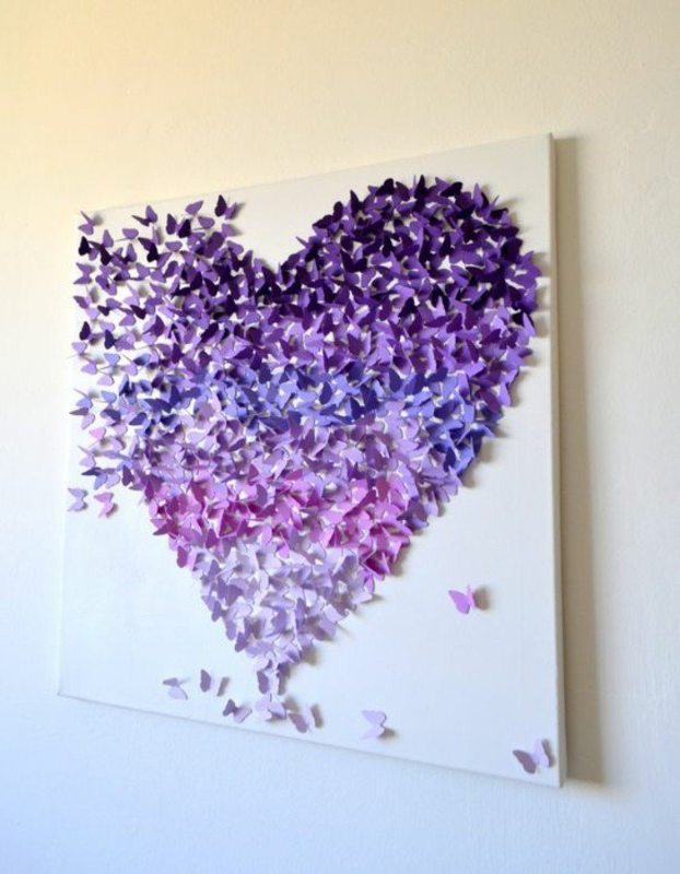 Картина из бумажных бабочек