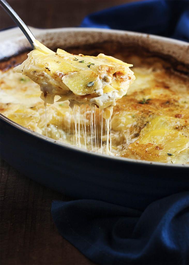 Картофель с молоком, сыром