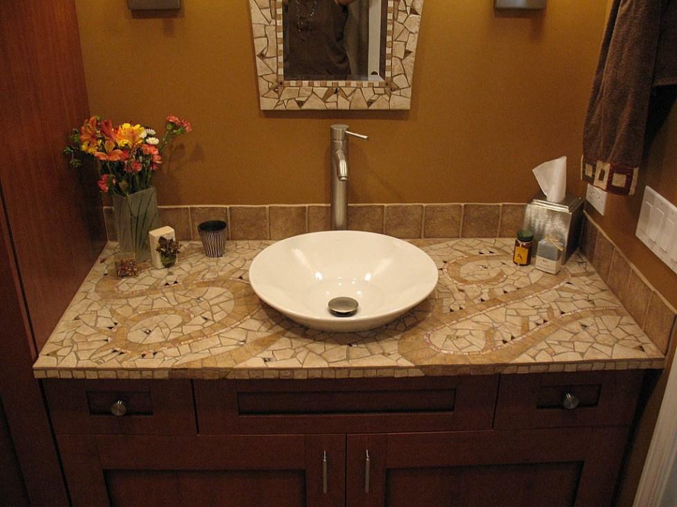 столешница в ванную под раковину из мозаики