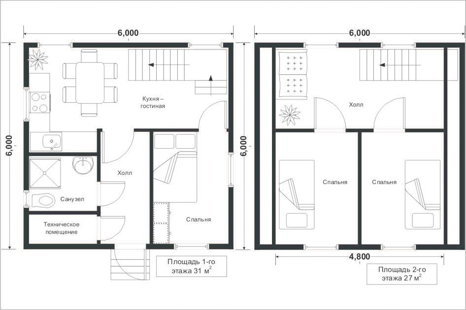планировка дома 6 х 6 метров
