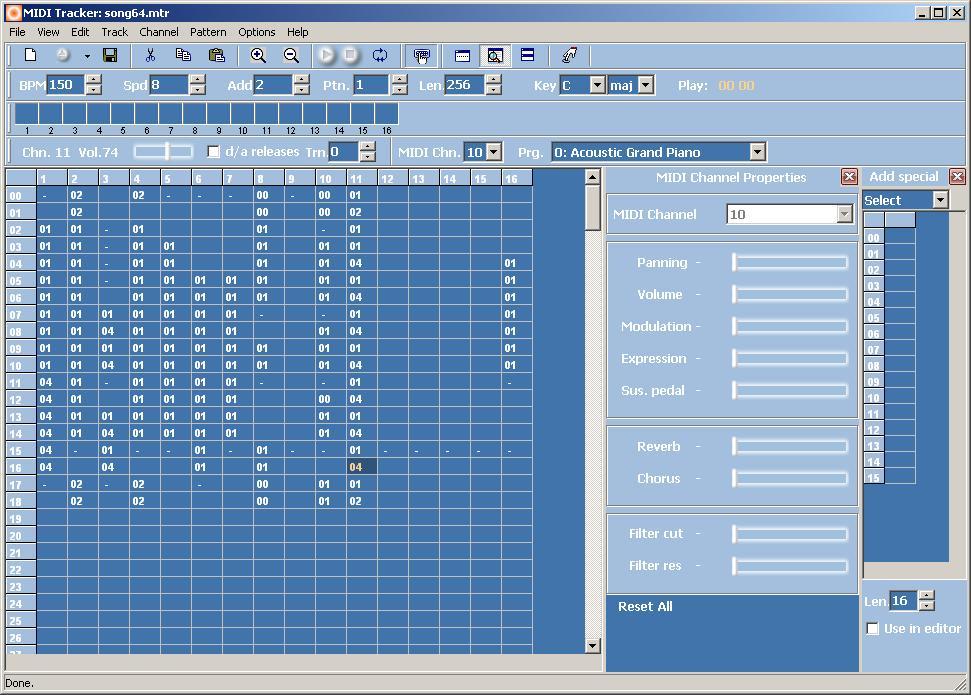 Программа-трекер для создания музыки с записью партий через MIDI