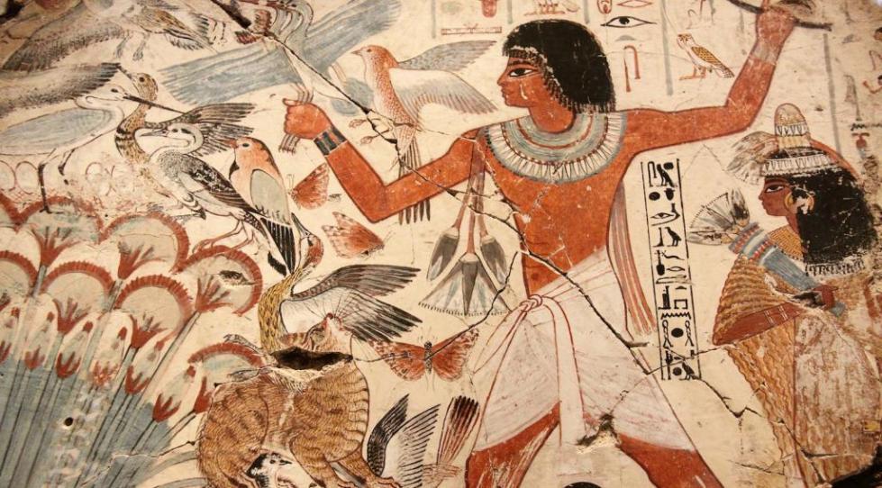 Фреска с изображением древнего египтянина