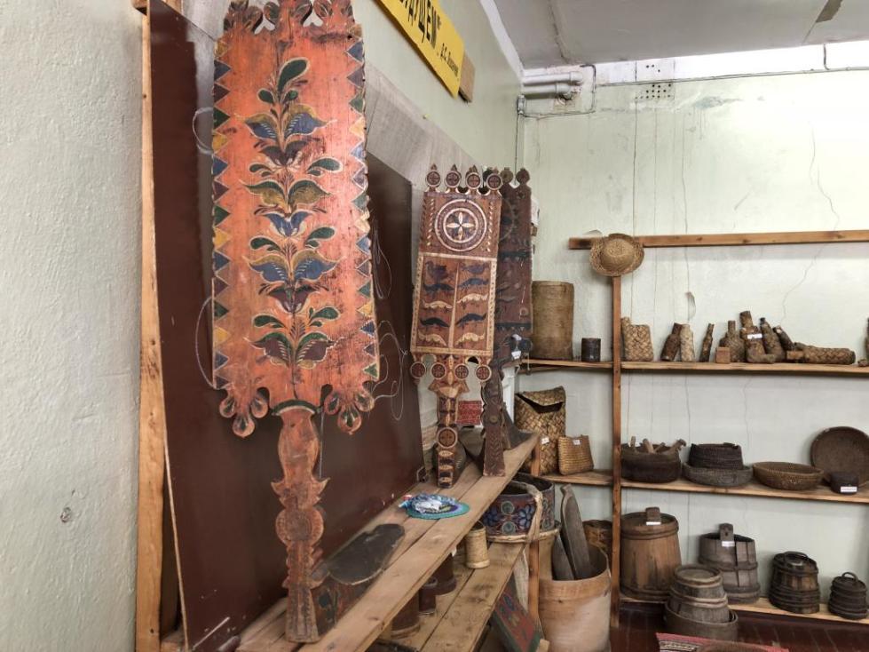 Прялки в музее Верхней Уфтюги