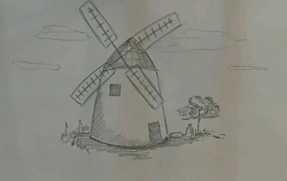 как нарисовать мельницу поэтапно