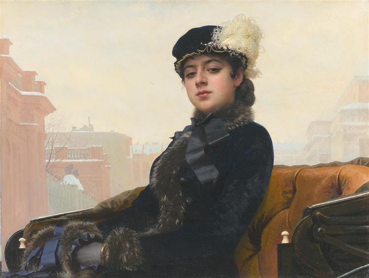 картина дама в черной шляпе