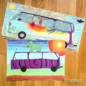 VW Bus Bilder Wachskreide