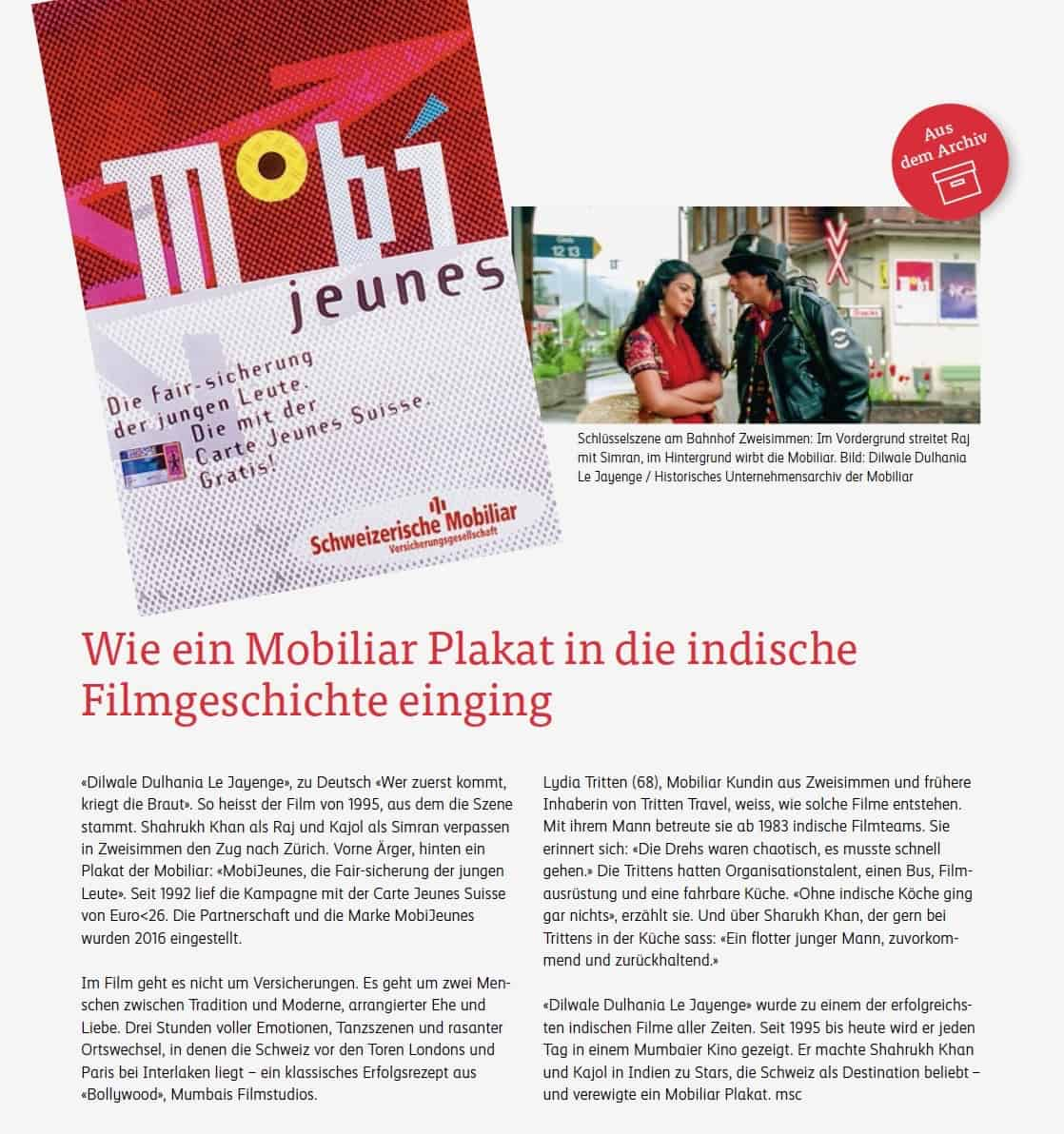 """Rubrik """"Aus dem Archiv"""" im Kunden- und Mitarbeitermagazin der Mobiliar"""