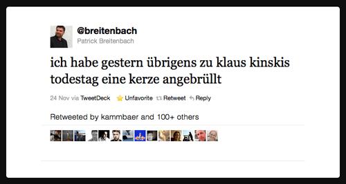 Für mich der Tweet der Woche. Von @breitenbach