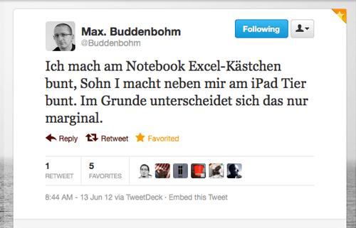 Tweet der Woche von @Buddenbohm